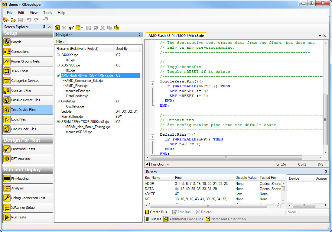 XJDeveloper screenshot, showing the high-level language used to create a connectivity test for a memory device